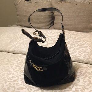 Carlisle Black Patton and Suede Shoulder Bag